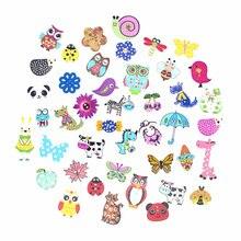 Boutons décoratifs mélangés de 2 trous, joli Flatblck, boutons en bois, couture aléatoire, Scrapbooking, 50pcs