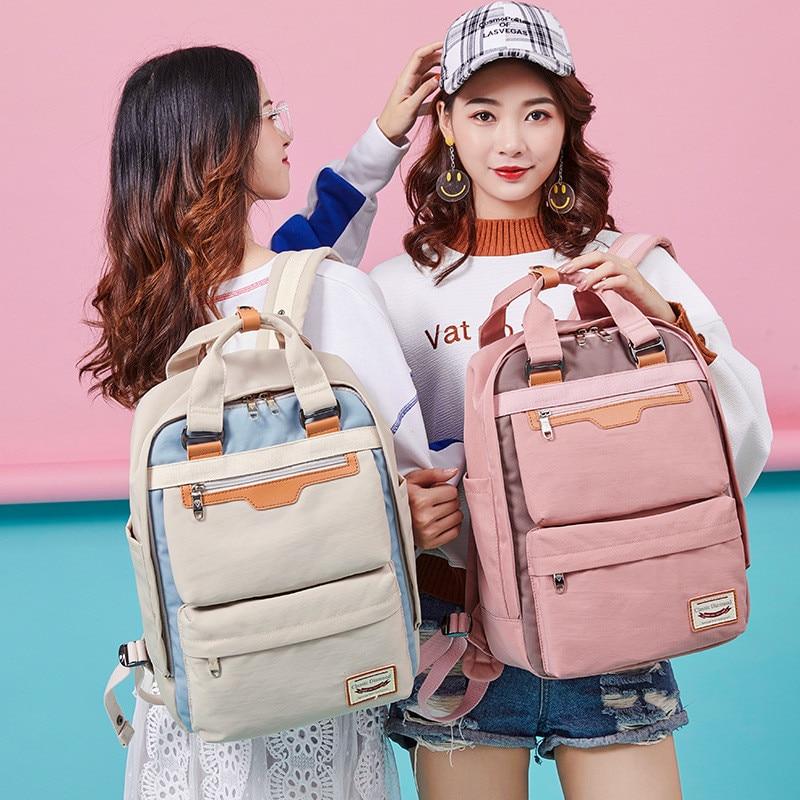 Mochila de marca de moda para adolescentes, mochila para portátil para niñas, mochila escolar rosa, mochilas de viaje impermeables para mujeres, mochila
