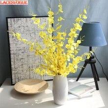 Flores artificiais 1 pcs Cabeça Borboleta Orquídea Flores de Seda Para O Casamento Casa Decoração Flores de Orquídea Cymbidium Flores Plantas