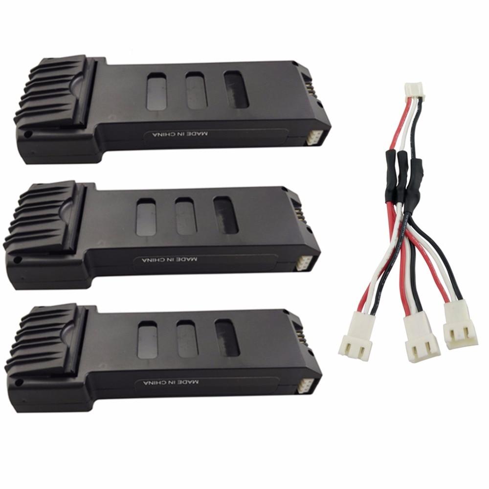 Batería de litio mahl de 7,4 V y 1200 V con línea de conversión de carga de 1 a 3 para E511 E511S, cuadricóptero plegable, batería de repuesto 3 uds.