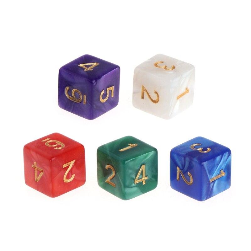 10 Stks/set Multicolor 6 Zijdig 16 Mm Parel Patroon Hars Dobbelstenen Board Game Accessoires