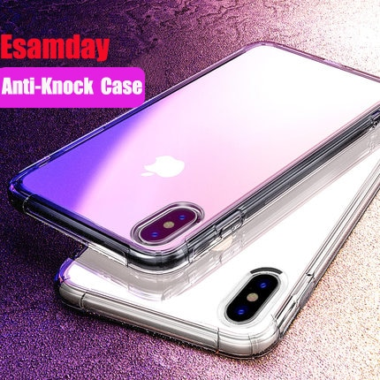 Esamday a prueba de golpes a prueba clara de los casos para iPhone 11 PRO 5 6 7 8 Plus 6 s 6 7 8 Plus X XS X MAX XR del funda trasera del teléfono móvil
