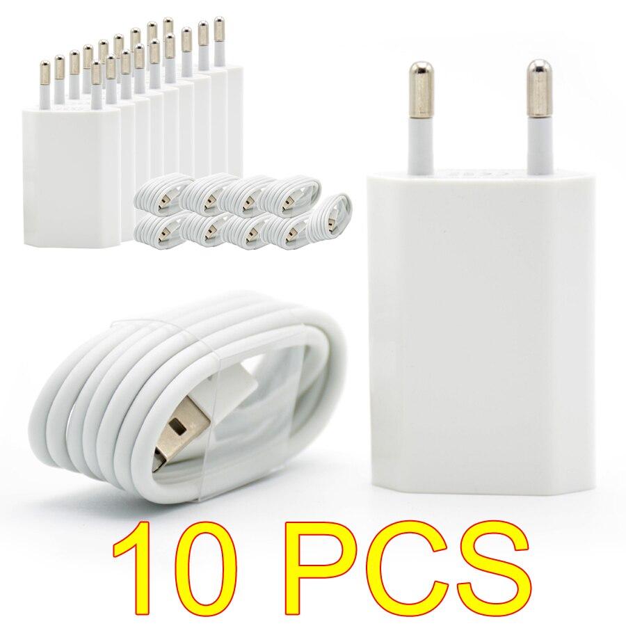 10 шт./лот, европейская вилка, белого цвета, настенное USB зарядное устройство для iPhone 8, контактный кабель для зарядки + зарядное устройство, адаптер для Apple iPhone 6 7 Plus 5S 5