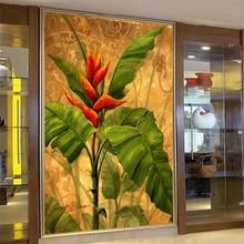 Beibehang-grand papier peint personnalisé   flash décran, peinture murale, salon, musée du sud-est, bananier, arbre, toile de fond, club de yoga