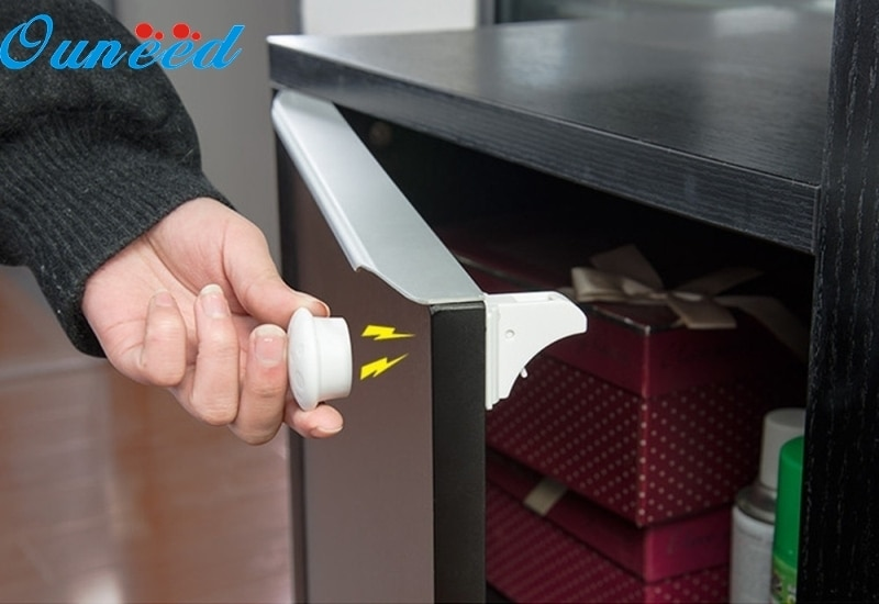 Ouneed Home 4 Uds. Armario magnético Invisible de seguridad para bebés con cerradura a prueba de niños cajones de armarios