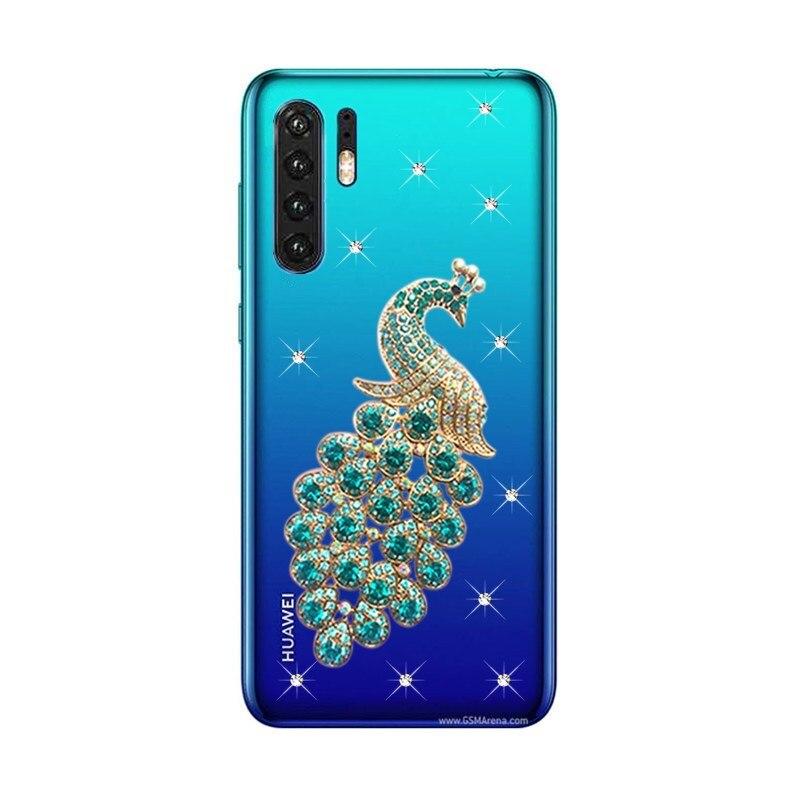 Para Huawei P30 pro 9 lite Honor 8A 8C funda de teléfono Pavo Real cristal claro Coque contraportada para Huawei P20 mate 10 lite 20 Pro funda