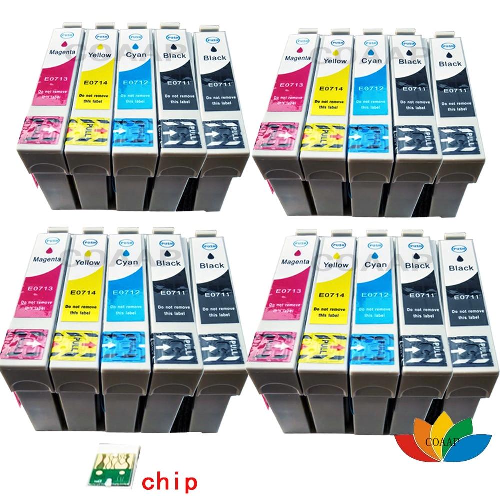 20x T0711 T0712 T0713 T0714 совместимые картриджи для Epson stylus DX4050 DX4400 DX8400 DX8450 DX9400 DX9400F с чипом