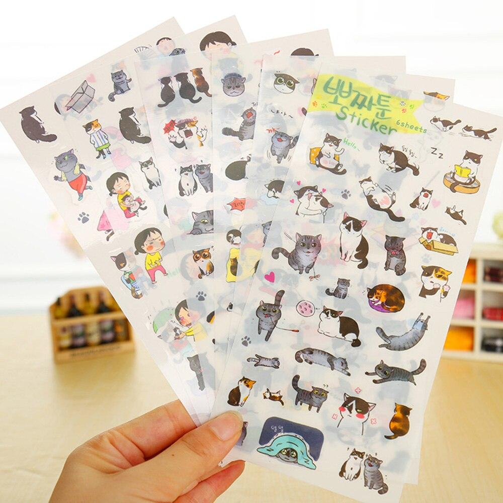 6 unids/pack nuevo Corea del Sur Pegatinas transparentes de PVC lindo gato diario pegatinas para álbum de fotos
