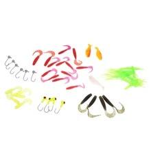 Leurre de pêche 35-50 pièces/ensemble cuillère souple ver leurre de pêche avec 10 crochets de tête de gabarit de plomb leurres souples chine sabiki qualité (couleur aléatoire)