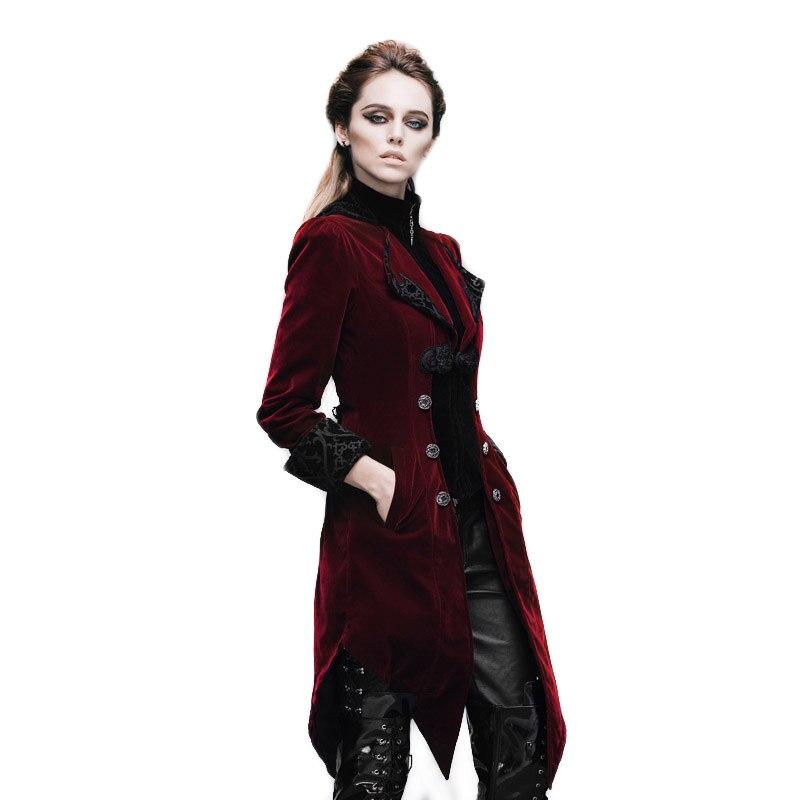 جاكيت نسائي طويل من Steampunk مع جيب مطبوع ومطرز ، مقاوم للرياح ، أسود وأحمر ، خريف