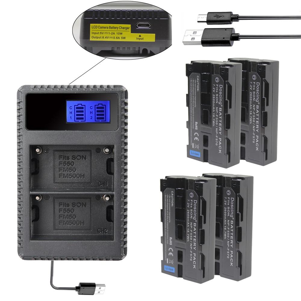 4 Uds NP-F550 NP-F570 NP F550 F570 batería + cargador Dual USB para Sony CCD-SC5 CCD-SC100 CCD-TR910 DCR-TRV315 DCR-VX2000 MVC-FD95