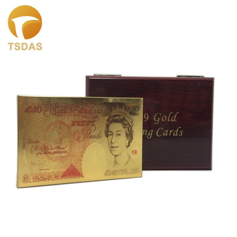Darmowa wysyłka 88*57mm UK 50 funtów złota karty do gry, 24k złota karty do pokera z drewnianym pudełku Family Party prezenty