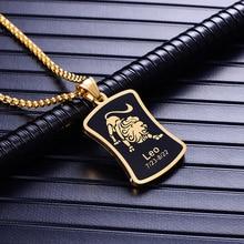 12 Constellations pendentif collier pour hommes/femmes cadeaux danniversaire couleur or acier inoxydable amulette collier zodiaque signes bijoux