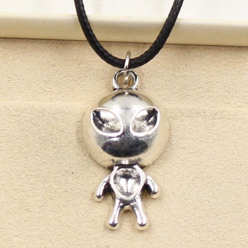 New Fashion Tibetan Silver Color Pendant Alien Et Necklace Choker Charm Black Leather Cord Factory Price Handmade Jewelry