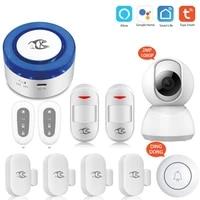 Systeme dalarme de securite pour maison connectee  tuya  Wi-Fi  Flash  sirene  avec camera Ip HD 2 0MP