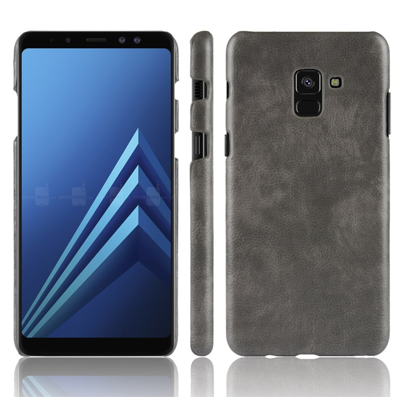 Funda trasera dura Retro con textura de cuero de lujo para teléfono Funda para Samsung Galaxy A8 Plus J8 J4 J6 2018 Plus J2 Core