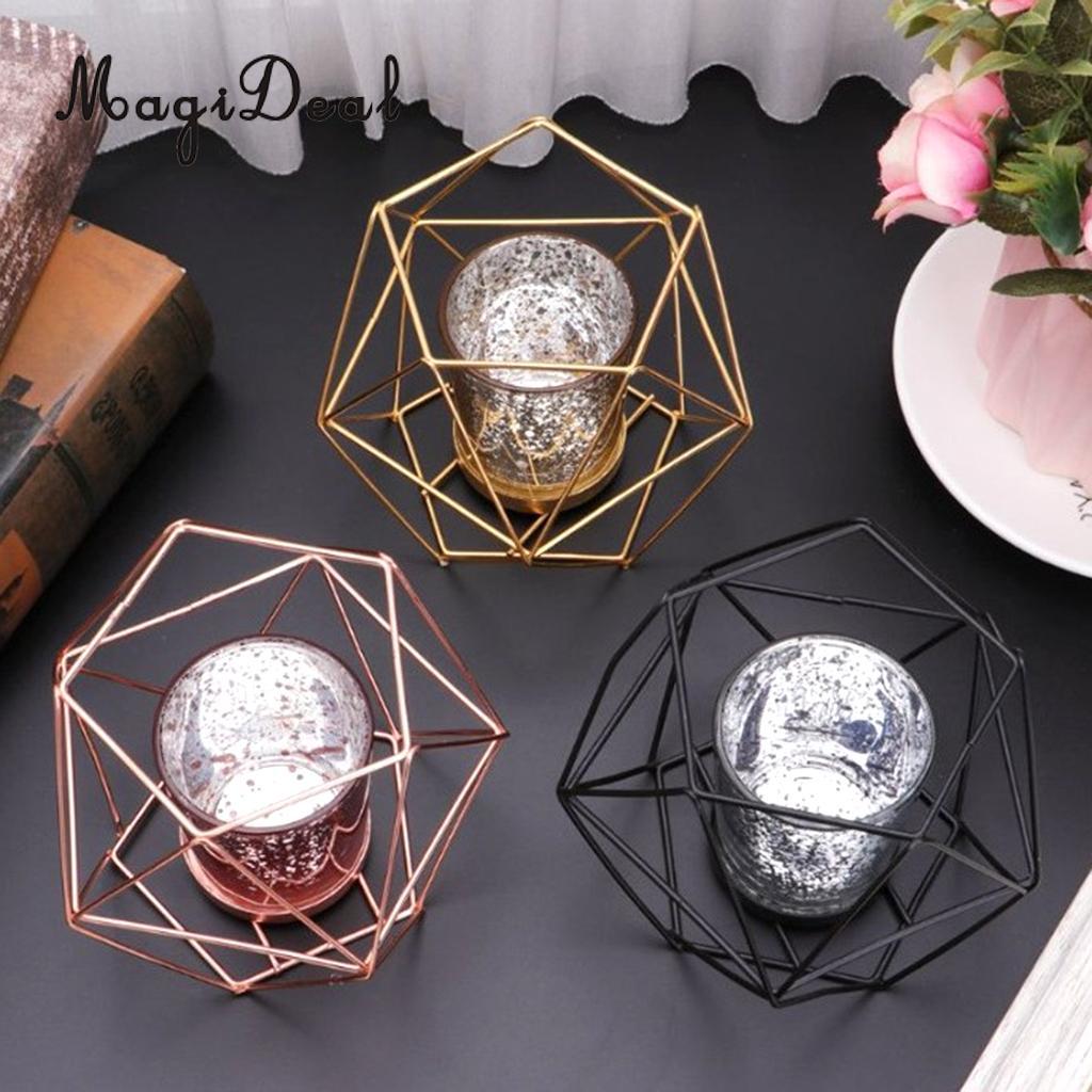 MagiDeal  Desk Stand Hexagon Geometric Candle Holder Lantern Case Candlestick Case Home Wedding Centerpiece