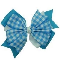 factory directly sale ribbon flowers plaid grosgrain blue ribbon bow free shipping