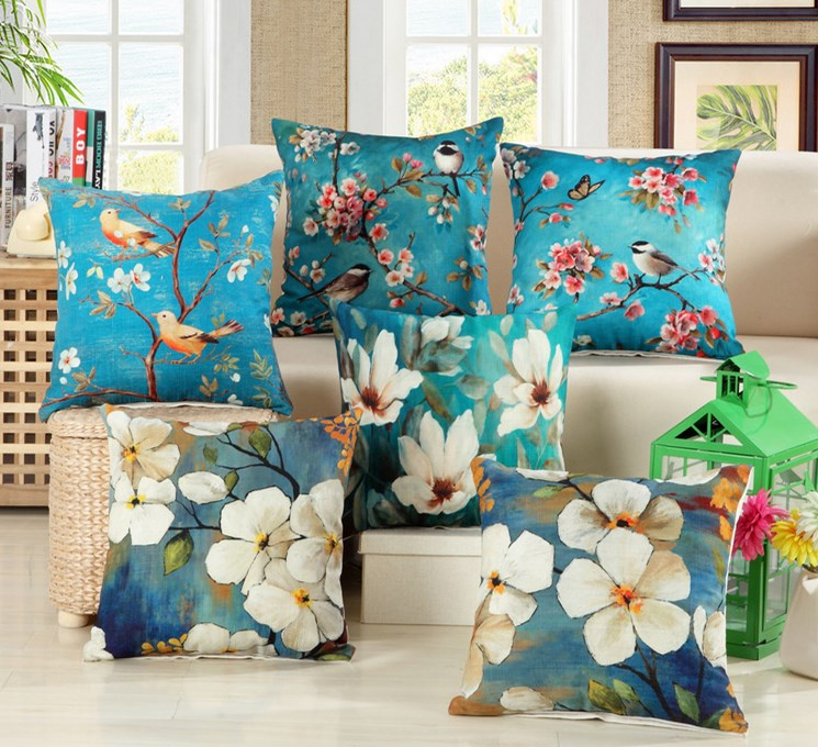 Bird Flower Cotton Linen Grace Bloom Sofa Cushion 45x45cm/17.7x17.7'' Embrace Throw Pillow Home Decor Seat Cushion Home Textile