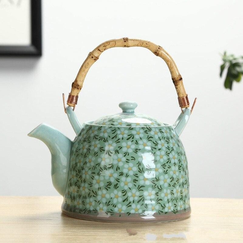 سيراميك سعة كبيرة مقاومة للحرارة العالية ، 1 لتر ، مع فلتر ، غلاية سيراميك ، إبريق الشاي ، نمط زهرة ، مجموعة متنوعة من الأنماط