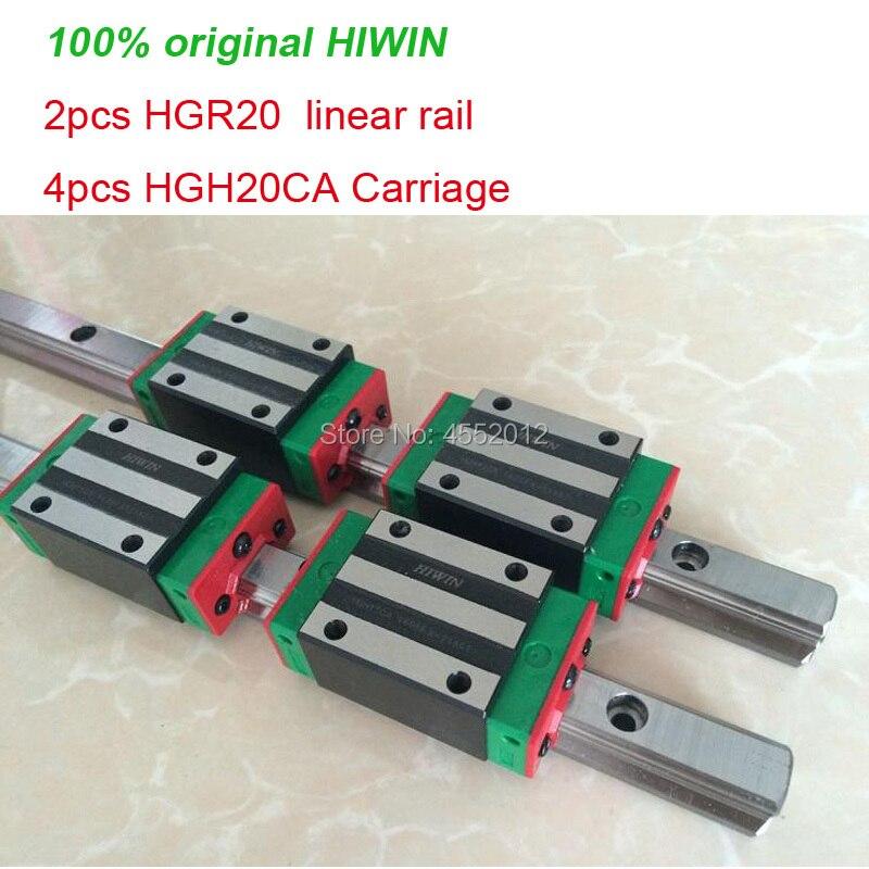 2 sztuk szyna 100% oryginalny HIWIN HGR20-200 300 400 500 600 700 800 900 1000 1100mm + 4 sztuk HGH20CA/HGW20CA przewozu