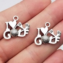 20pcs/lot--17x22mm, Antique silver plated I love golf charms ,DIY supplies, Jewelry accessories