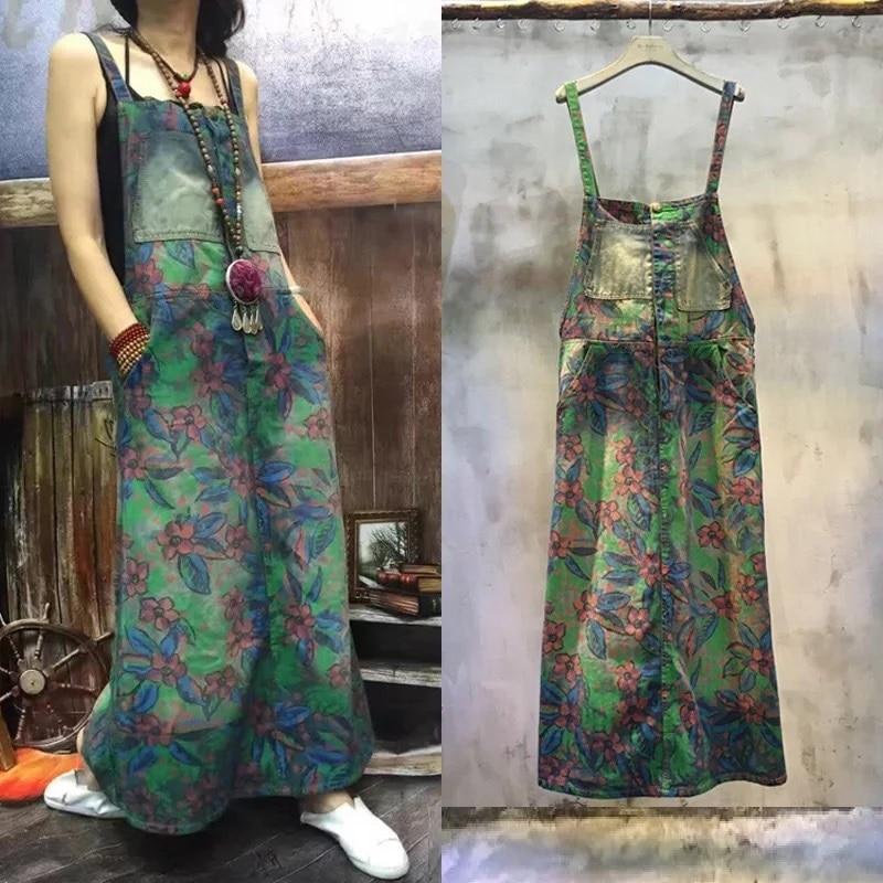 فستان جينز نسائي ، مقاس كبير ، موضة غير رسمية ، فضفاض ، عتيق ، مع أحزمة مطبوعة ، قطعة واحدة ، كبير ، صيفي
