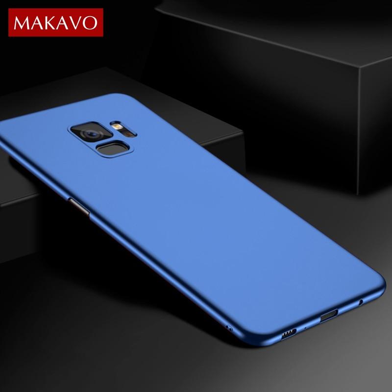 MAKAVO für Samsung Galaxy S9 Plus Fall 360 Schutz Schlank Matte PC Harte Rückseitige Abdeckung S9 + Phone Cases Gehäuse