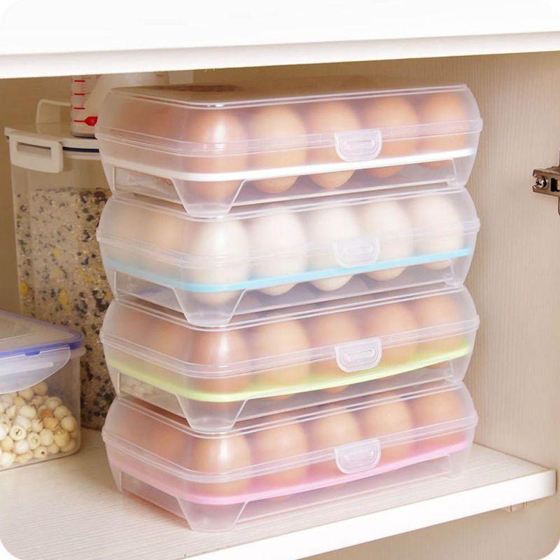 Herramientas de cocina 15 huevos contenedor de almacenamiento de plástico cocina refrigerador cuidador de alimentos nevera bandeja