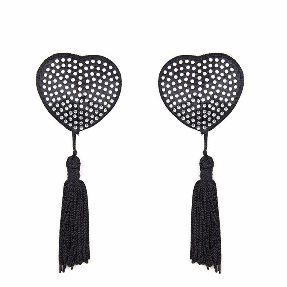 Cubierta de pezón reutilizable para mujer autoadhesivo pezón pegatinas pecho Pasties corazón borlas diamante cubre accesorios de sujetador