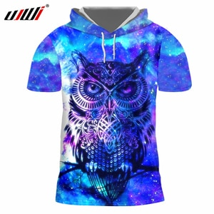 UJWI Galaxy Space Hat Tshirts Mens 3d Digi Print Bird Owl Hooded T-shirts Homme Slim Fit Bodybuilding Fitenss Undershirts Blouse