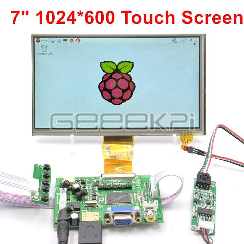 GeeekPi, módulo TFT LCD de 7 pulgadas, 1024x600, pantalla táctil resistiva + placa controladora HDMI para Raspberry Pi 4 B, todas las plataformas/PC