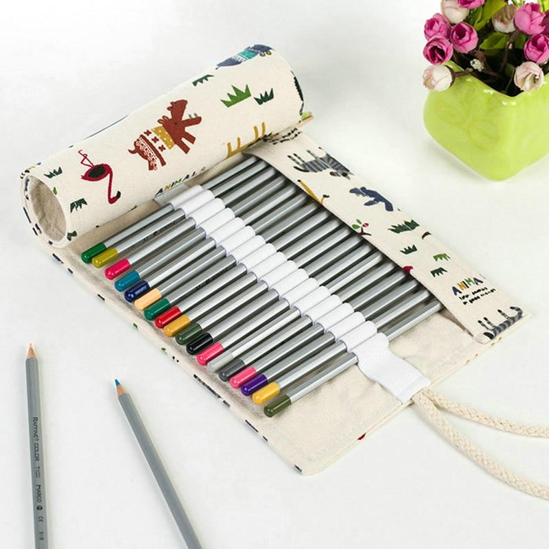36 48Hole Handmade Canvas School Pencil Case Roll Pouch Makeup Comestic Brush Pen Storage Pecncil Box Estuches School Stationery