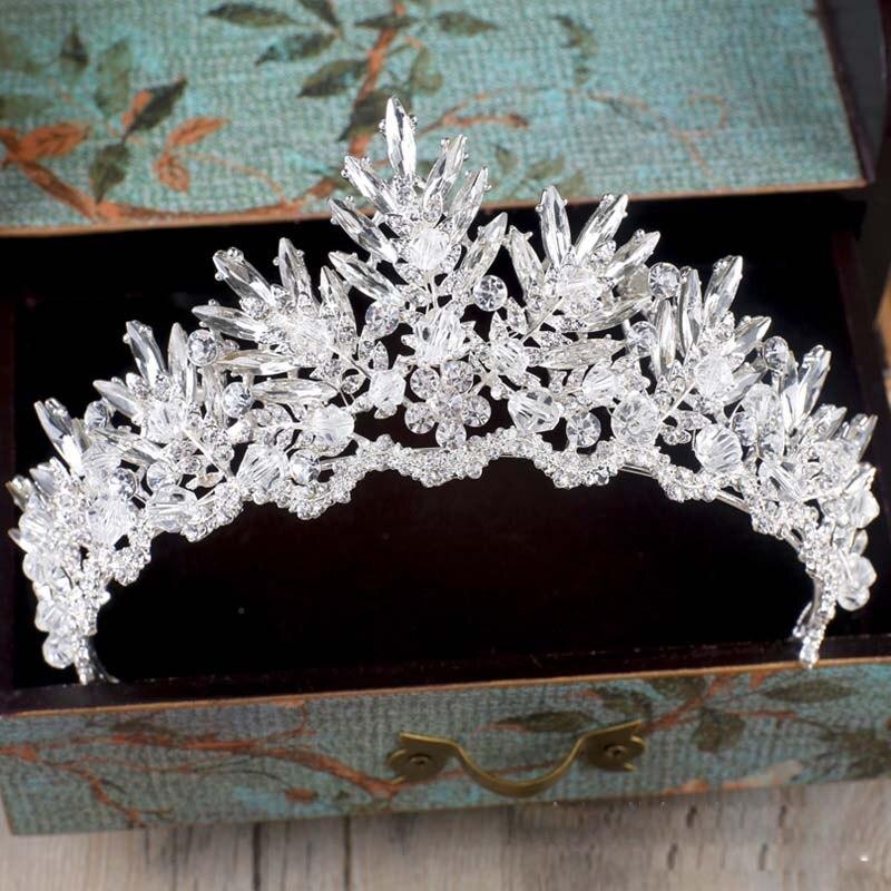 Barroco luxo strass cristal frisado casamento tiara noiva coroa acessórios de cabelo casamento