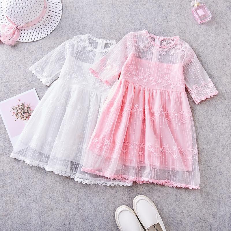 MERI AMMI Baby Mädchen Geburtstag Party Ballkleid Prinzessin Blume Spitze Kurzarm Kleid Für 2-9 Kleinkind Infant Mädchen