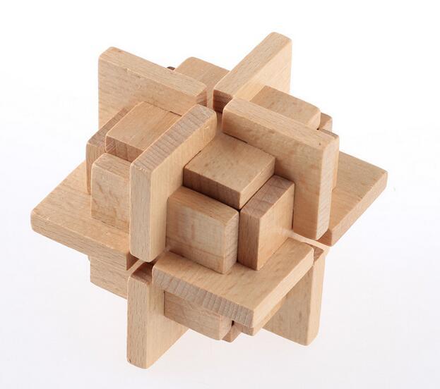 2017 NEW Wooden Burr Puzzle Interlocking Brain Teaser Game for Adults Children