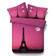 Paris Style Pink Color Quilt Cover Printed Eiffel Tower Bedding Set Girl Bedroom Home Textiles Decoration Pure Cotton Bedclothes