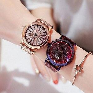 Top Luxury Brand Rotation Women Watches Lady Fashion Rhinestone Casual Quartz Watch Woman Stainless Steel WristWatch reloj mujer