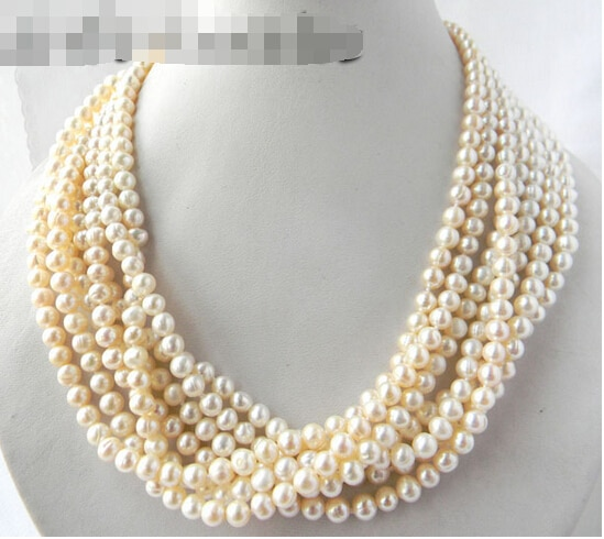 Envío gratis >> >> 18  7 Strands 6 mm blanco ronda perlas de agua dulce