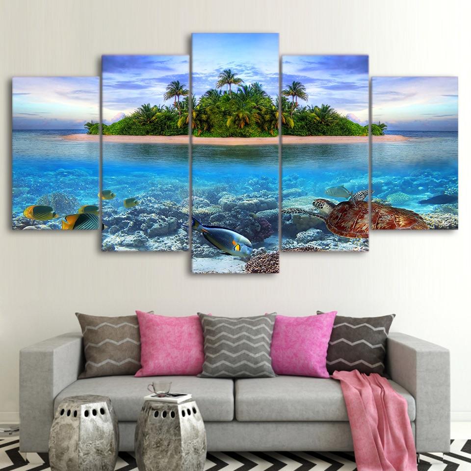Leinwand Gemälde Wand Kunst 5 Stück Marine Leben Tropische Insel Bilder HD Drucke Meer Schildkröte Fisch Palm Bäume Poster Startseite decor