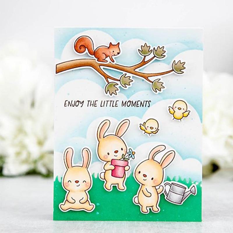 Rabbit & Bird Garden Clear Stamps Seal for DIY Scrapbooking Album Craft Decor Card Transparent Stempels Silicone Stamp 2019 New