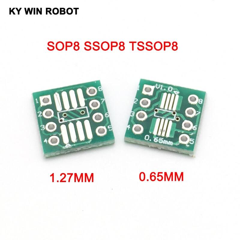 100pcs SMD to DIP Adapter Converter SOP8 SSOP8 TSSOP8 Adapter Board Module Adapters Plate 0.65mm 1.27mm