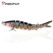 Piscifun leurre de pêche dur 14CM 27g réaliste Multi Jointed 3D yeux leurre 8 segments leurre dur manivelle avec 2 appâts de pêche au crochet
