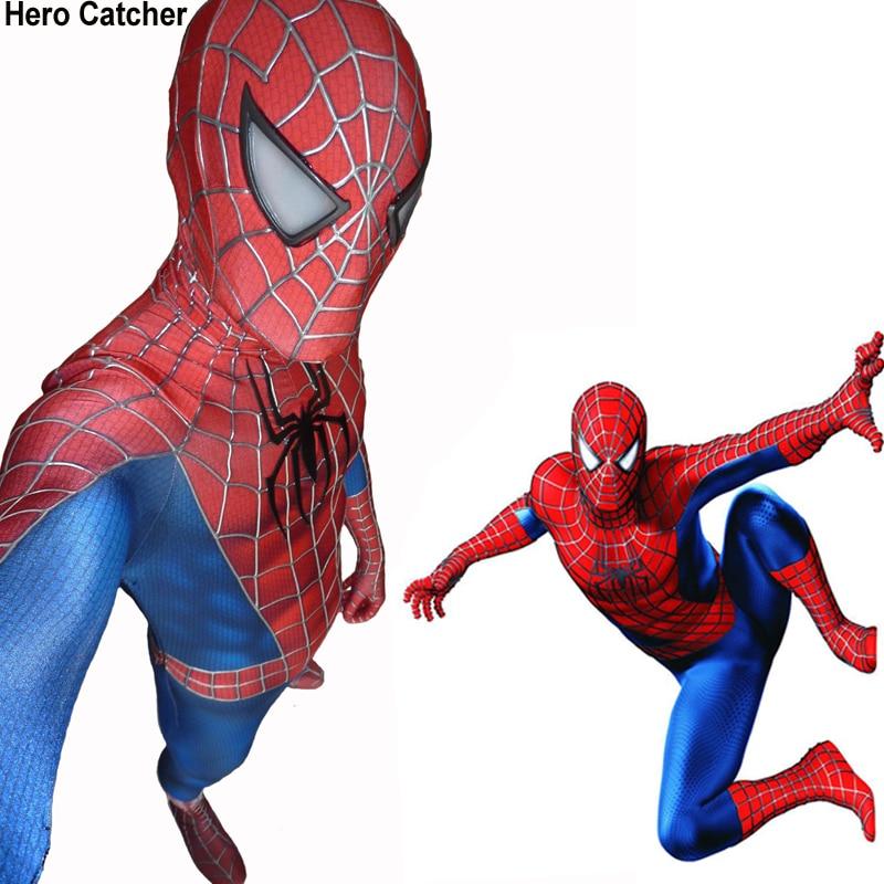 Héroe Catcher de alta calidad 3D redes disfraz de Spiderman de Raimi traje película Spiderman de lycra Fullbody traje para la fiesta