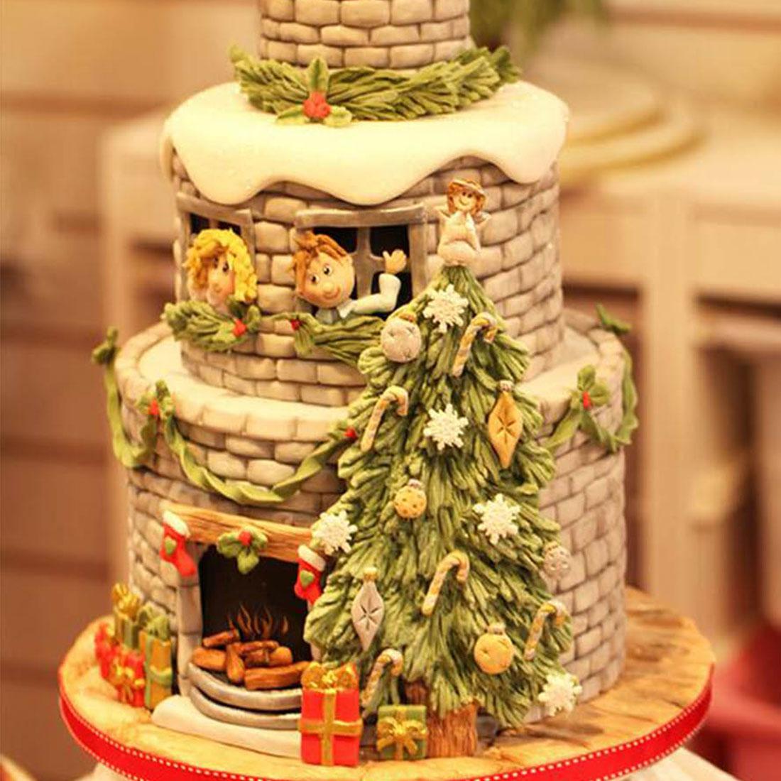 Nuevo árbol de Navidad copo de nieve molde de silicona arco decoración de borde de tarta Fondant moldes 3D Chocolate caramelo moldes