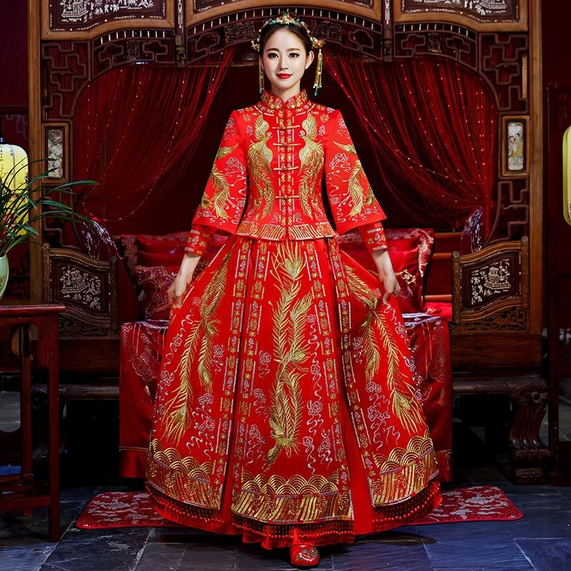 Rojo tradicional Show novia bordado cheongsam trajes de matrimonio estilo chino vestido formal de boda femenino en el extranjero Qipao chino