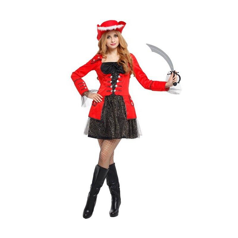 Conjunto de disfraz de pirata para mujer de Halloween para adultos, ropa de noche para mujer, atuendo de fiesta con parche de sombrero