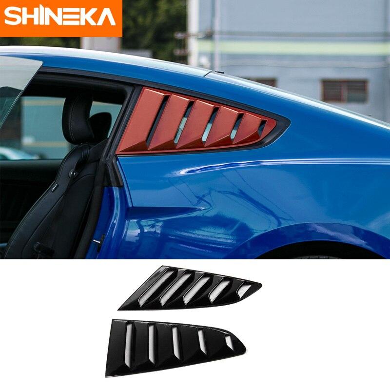 SHINEKA ABS Seite Jalousie Abdeckung Schwarz Fenster Jalousien Schattierungen für Ford Mustang 2015 + Auto Styling Zubehör