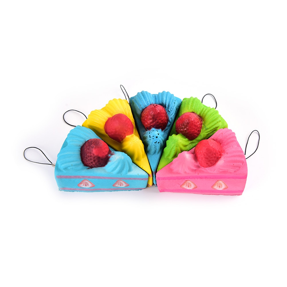 Slow Rising Strawberry Cake Car Key Rings Kawaii Stretchy Fun Gift Sweet Cream Scented Kids Toy Lanyard Mobile Phone Strap