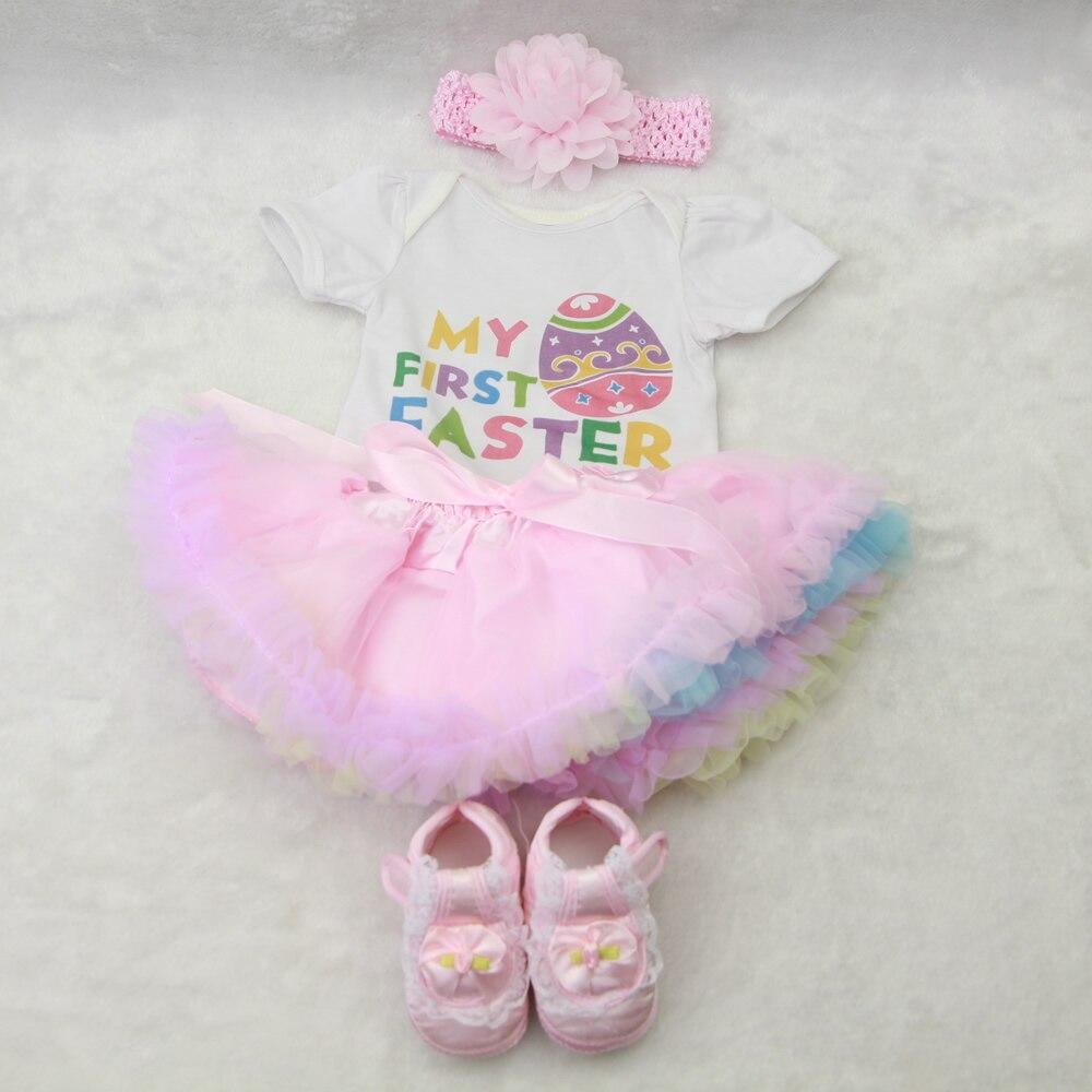 Vestido de muñeca de moda para niñas de 22-23 pulgadas muñecas Reborn 55-57 cm Accesorios de muñeca ropa de bebé para Pascua huevo colorido